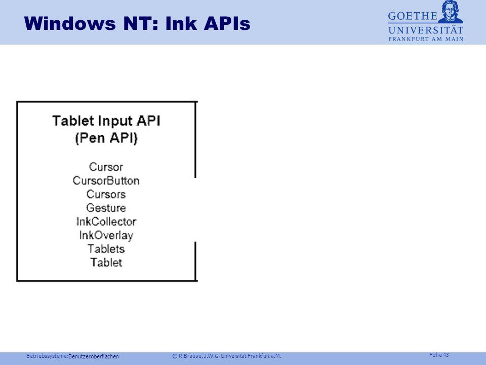 Betriebssysteme: © R.Brause, J.W.G-Universität Frankfurt a.M. Folie 42 Zentrale Bibliothek: Was ist Ink? Benutzeroberflächen Pen API gibt x,y- Koord.