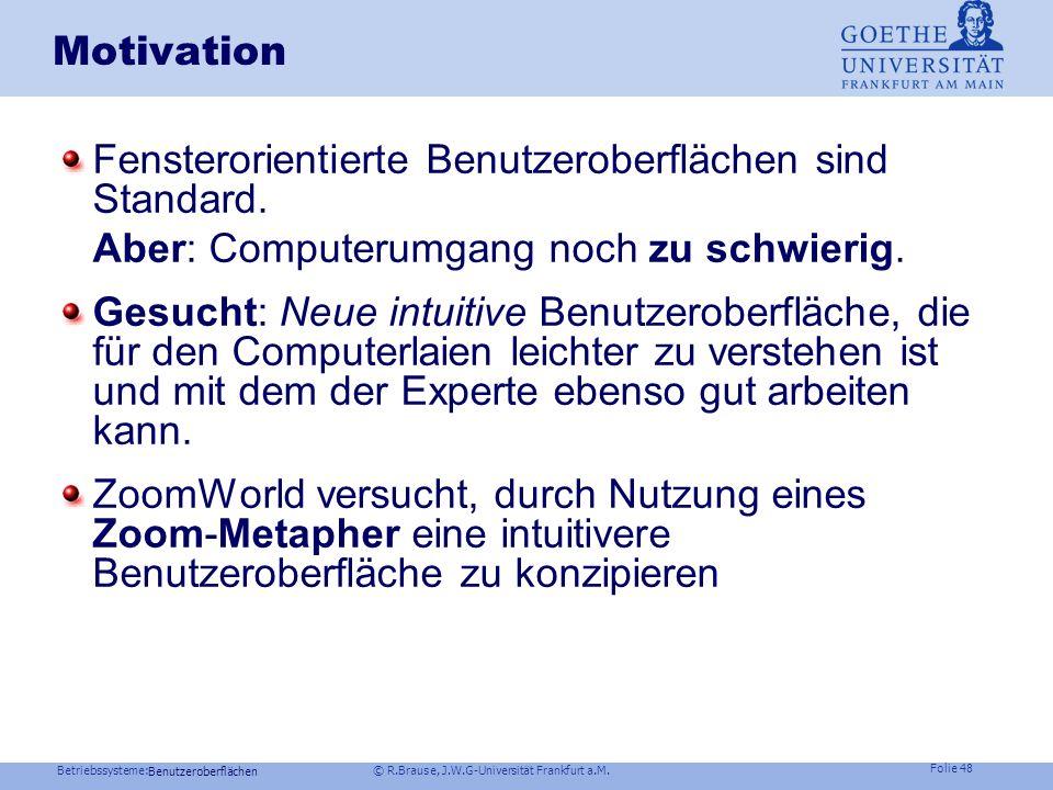 Betriebssysteme: © R.Brause, J.W.G-Universität Frankfurt a.M. Folie 47 z.B. Handschrifteneingabe Funktionale Struktur Implementierung GUI : z.B. ZoomW