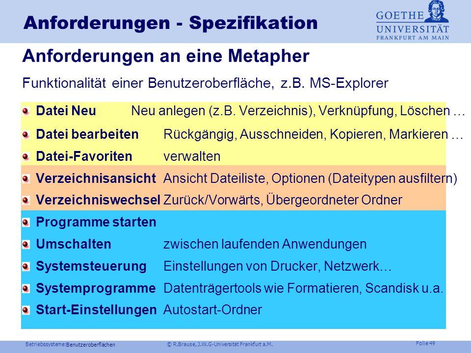 Betriebssysteme: © R.Brause, J.W.G-Universität Frankfurt a.M. Folie 48 Benutzeroberflächen Motivation Fensterorientierte Benutzeroberflächen sind Stan
