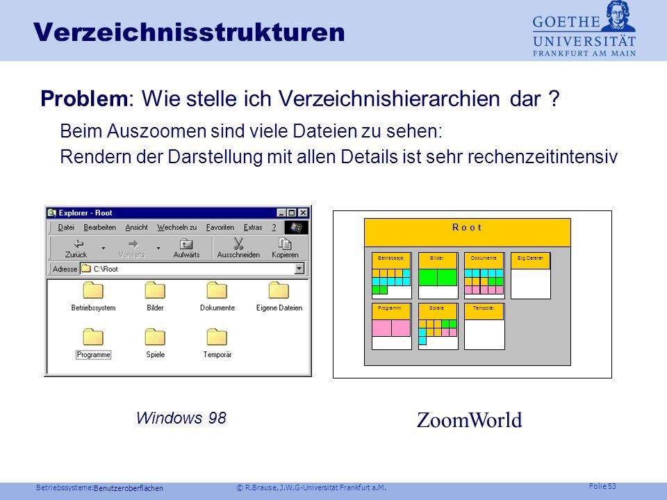 Betriebssysteme: © R.Brause, J.W.G-Universität Frankfurt a.M. Folie 52 Benutzeroberflächen ZoomWorld Herauszoomen- Netzwerkebene Netzwerkebene 1Netzwe
