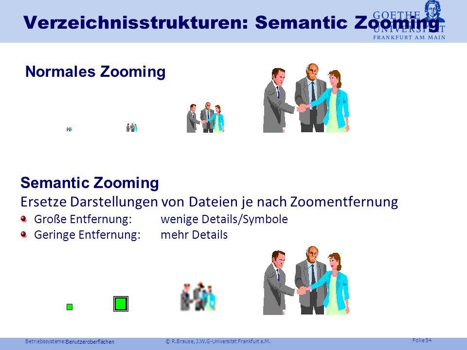 Betriebssysteme: © R.Brause, J.W.G-Universität Frankfurt a.M. Folie 53 Benutzeroberflächen Verzeichnisstrukturen Problem: Wie stelle ich Verzeichnishi