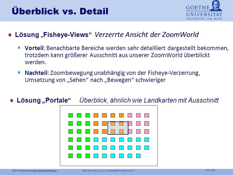 Betriebssysteme: © R.Brause, J.W.G-Universität Frankfurt a.M. Folie 54 Verzeichnisstrukturen: Semantic Zooming Semantic Zooming Ersetze Darstellungen