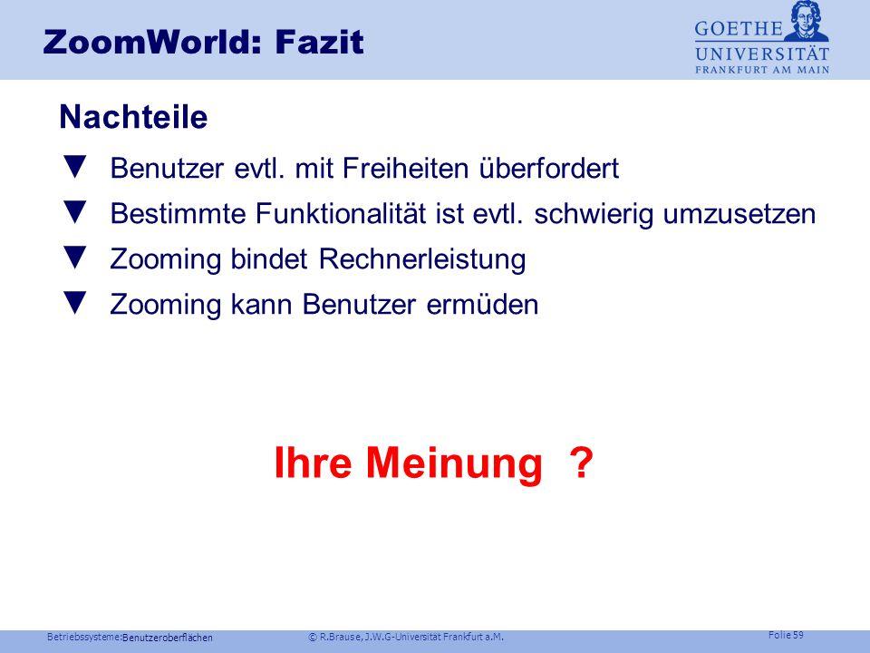 Betriebssysteme: © R.Brause, J.W.G-Universität Frankfurt a.M. Folie 58 Benutzeroberflächen ZoomWorld: Fazit Vorteile Unser ausgeprägtes räumliches Eri