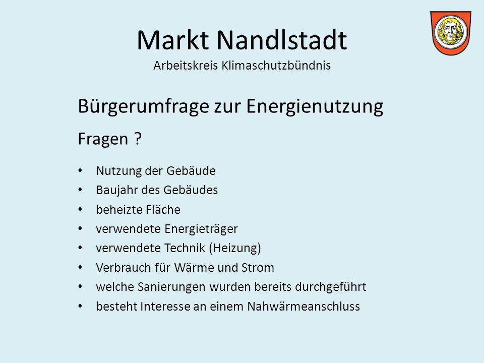 Markt Nandlstadt Arbeitskreis Klimaschutzbündnis Bürgerumfrage zur Energienutzung Fragen .