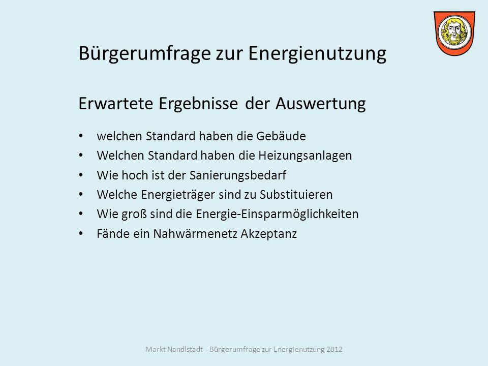 Markt Nandlstadt - Bürgerumfrage zur Energienutzung 2012 ENEV 09 25 kWh/m²a ENEV 12 17 kWh/m²a