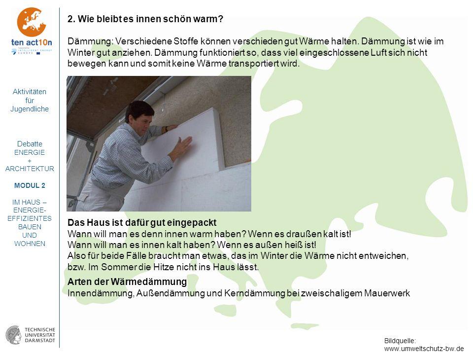 Aktivitäten für Jugendliche Debatte ENERGIE + ARCHITEKTUR MODUL 2 IM HAUS – ENERGIE- EFFIZIENTES BAUEN UND WOHNEN 2. Wie bleibt es innen schön warm? D