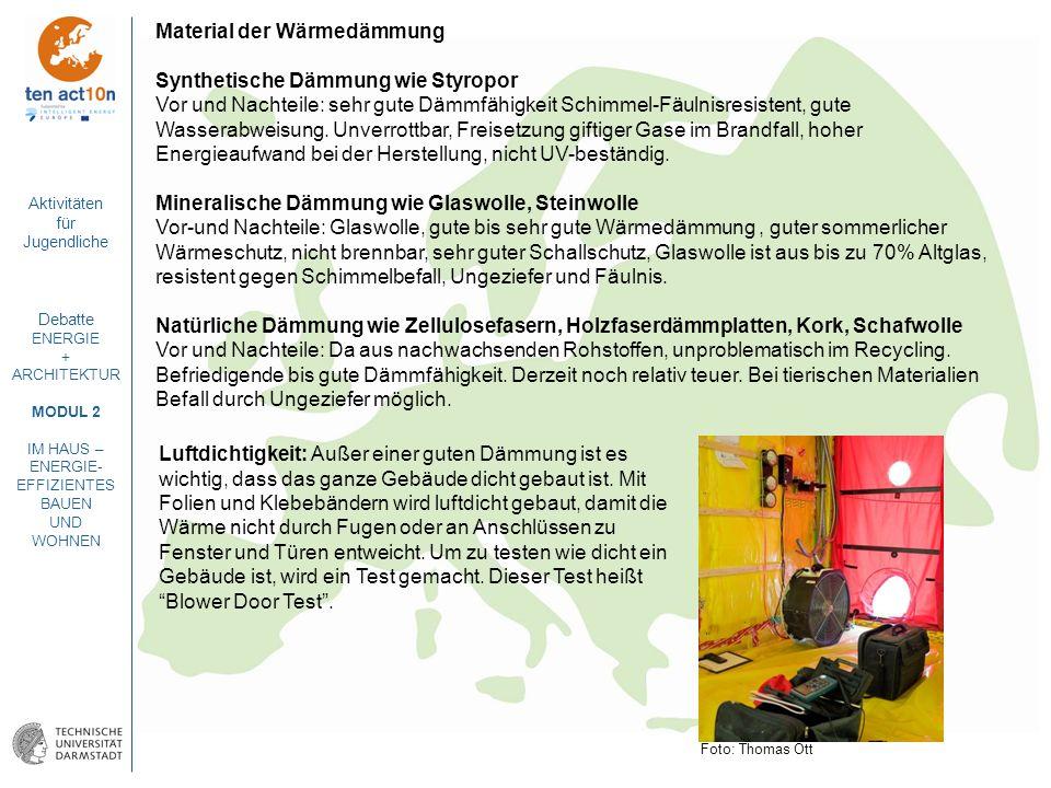 Aktivitäten für Jugendliche Debatte ENERGIE + ARCHITEKTUR MODUL 2 IM HAUS – ENERGIE- EFFIZIENTES BAUEN UND WOHNEN Material der Wärmedämmung Synthetisc