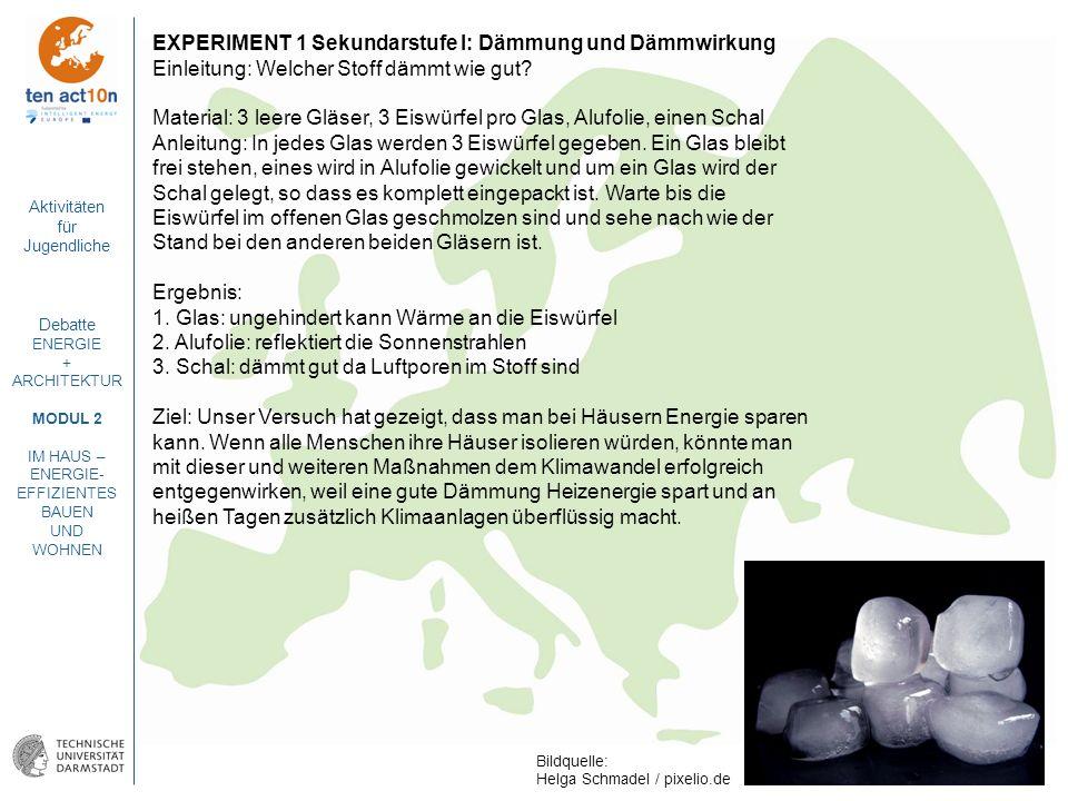 Aktivitäten für Jugendliche Debatte ENERGIE + ARCHITEKTUR MODUL 2 IM HAUS – ENERGIE- EFFIZIENTES BAUEN UND WOHNEN EXPERIMENT 1 Sekundarstufe I: Dämmun