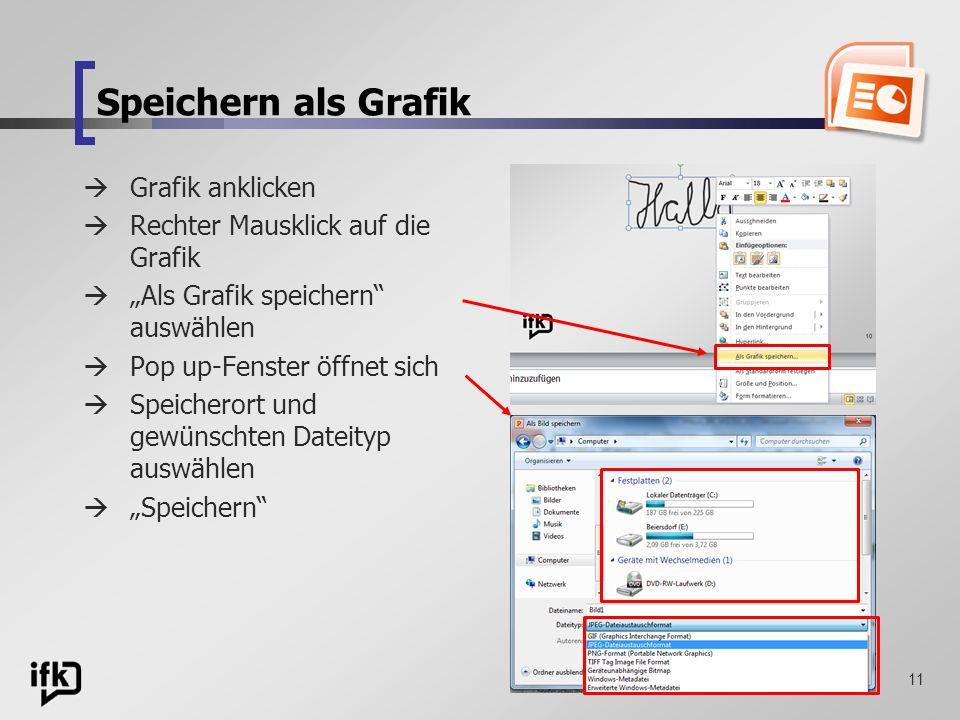 11 Grafik anklicken Rechter Mausklick auf die Grafik Als Grafik speichern auswählen Pop up-Fenster öffnet sich Speicherort und gewünschten Dateityp au