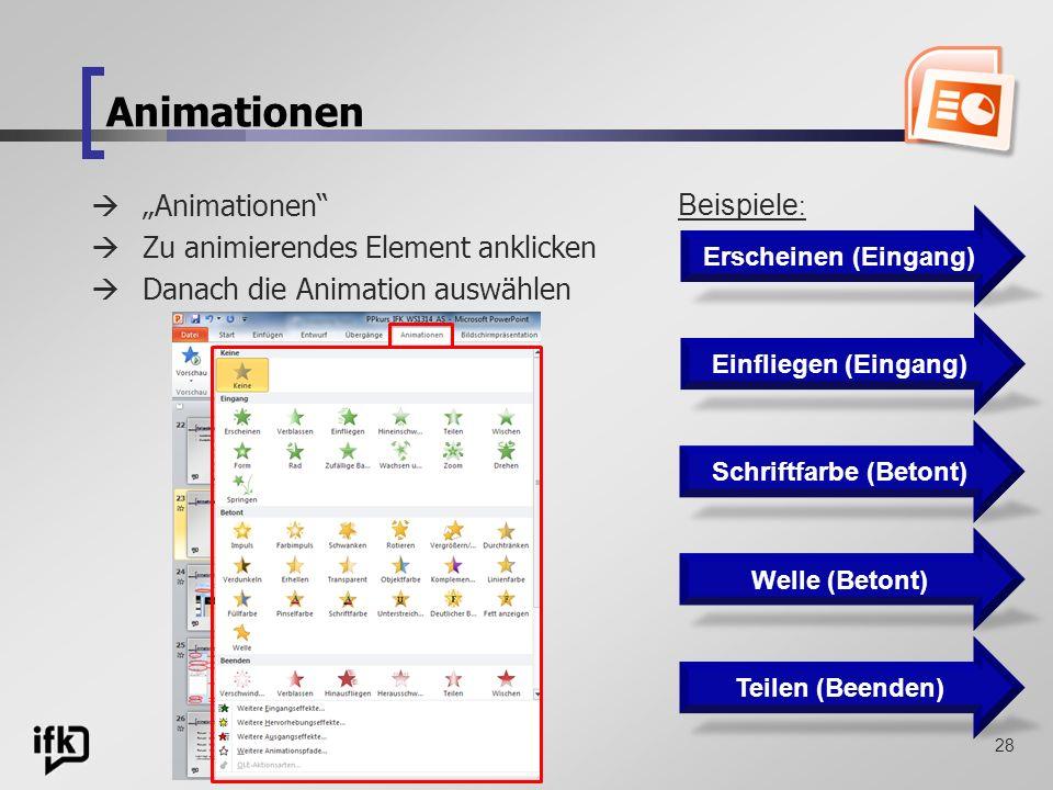 28 Animationen Zu animierendes Element anklicken Danach die Animation auswählen Erscheinen (Eingang) Schriftfarbe (Betont) Welle (Betont) Teilen (Been
