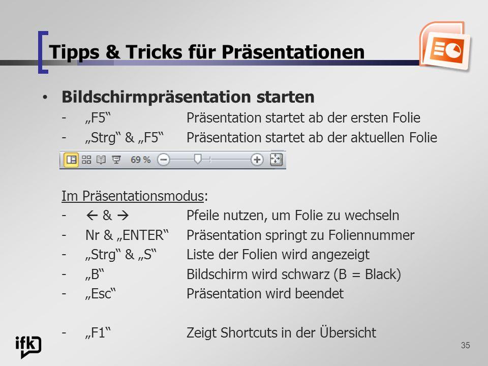 35 Tipps & Tricks für Präsentationen Bildschirmpräsentation starten -F5Präsentation startet ab der ersten Folie -Strg & F5Präsentation startet ab der