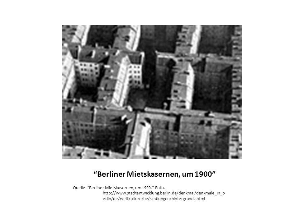 Berliner Mietskasernen, um 1900 Quelle: Berliner Mietskasernen, um 1900.