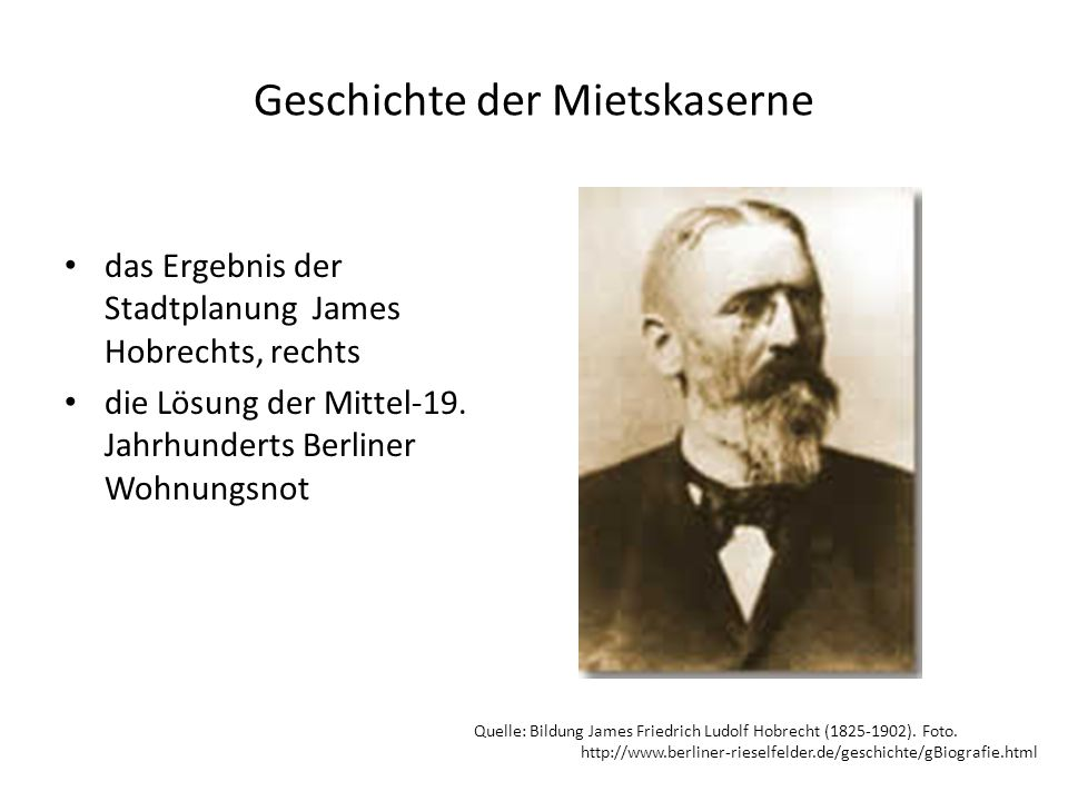 Geschichte der Mietskaserne das Ergebnis der Stadtplanung James Hobrechts, rechts die Lösung der Mittel-19.