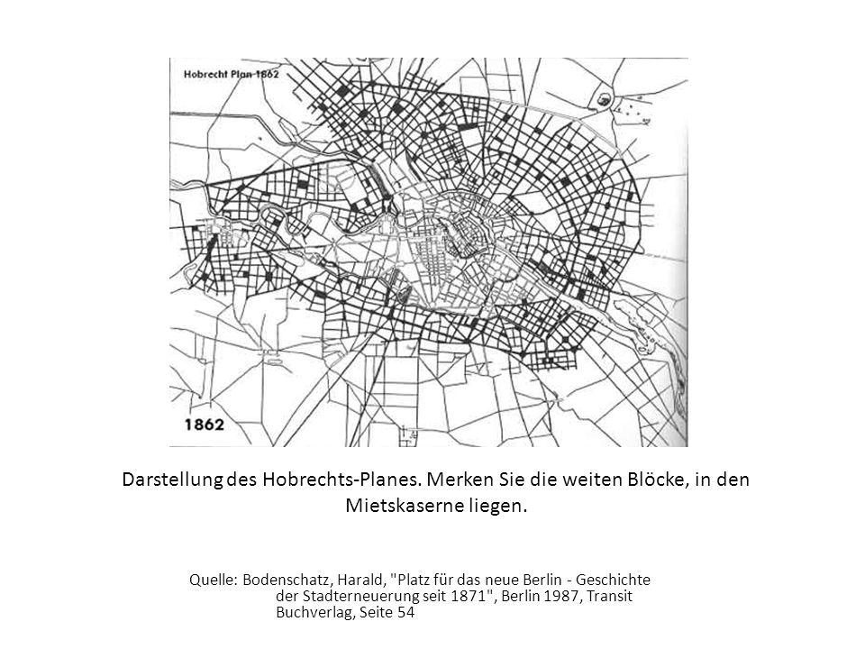 Quelle: Bodenschatz, Harald, Platz für das neue Berlin - Geschichte der Stadterneuerung seit 1871 , Berlin 1987, Transit Buchverlag, Seite 54 Darstellung des Hobrechts-Planes.