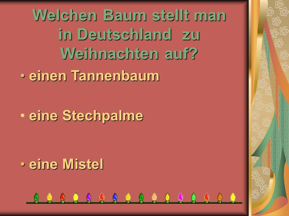 Welchen Baum stellt man in Deutschland zu Weihnachten auf? e eine Mistel eine Stechpalme e einen Tannenbaum