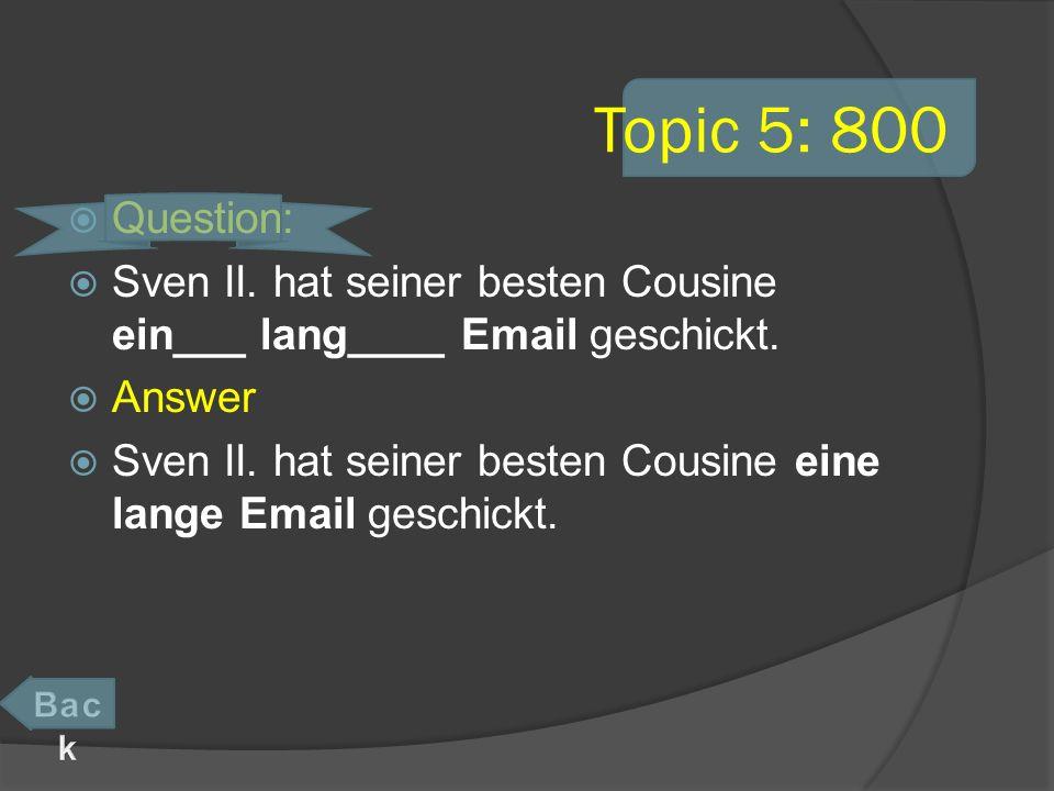 Topic 5: 800 Question: Sven II. hat seiner besten Cousine ein___ lang____ Email geschickt.