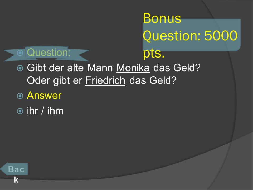 Bonus Question: 5000 pts. Question: Gibt der alte Mann Monika das Geld.