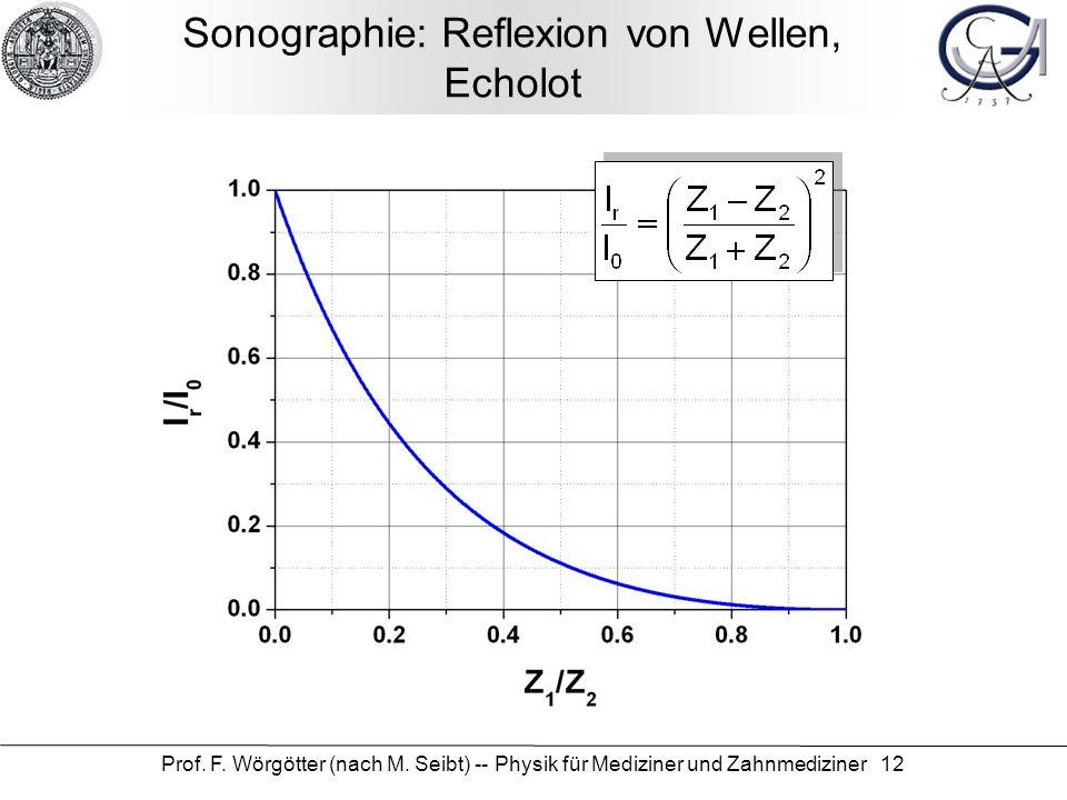 Prof. F. Wörgötter (nach M. Seibt) -- Physik für Mediziner und Zahnmediziner 12 Sonographie: Reflexion von Wellen, Echolot