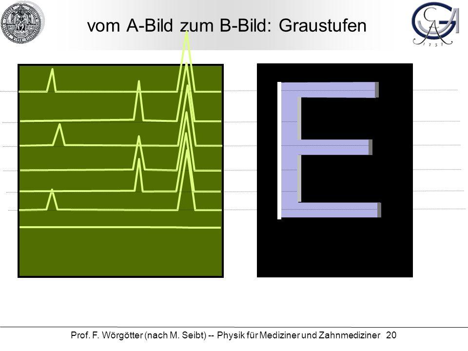 Prof. F. Wörgötter (nach M. Seibt) -- Physik für Mediziner und Zahnmediziner 20 vom A-Bild zum B-Bild: Graustufen