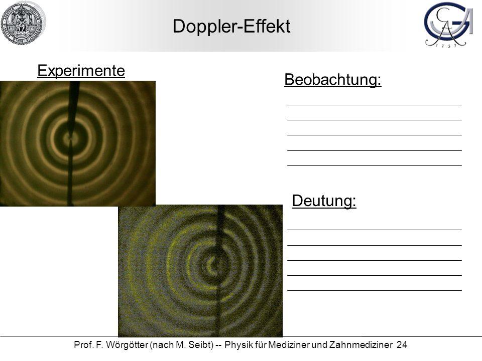Prof. F. Wörgötter (nach M. Seibt) -- Physik für Mediziner und Zahnmediziner 24 Doppler-Effekt Beobachtung: Deutung: Experimente