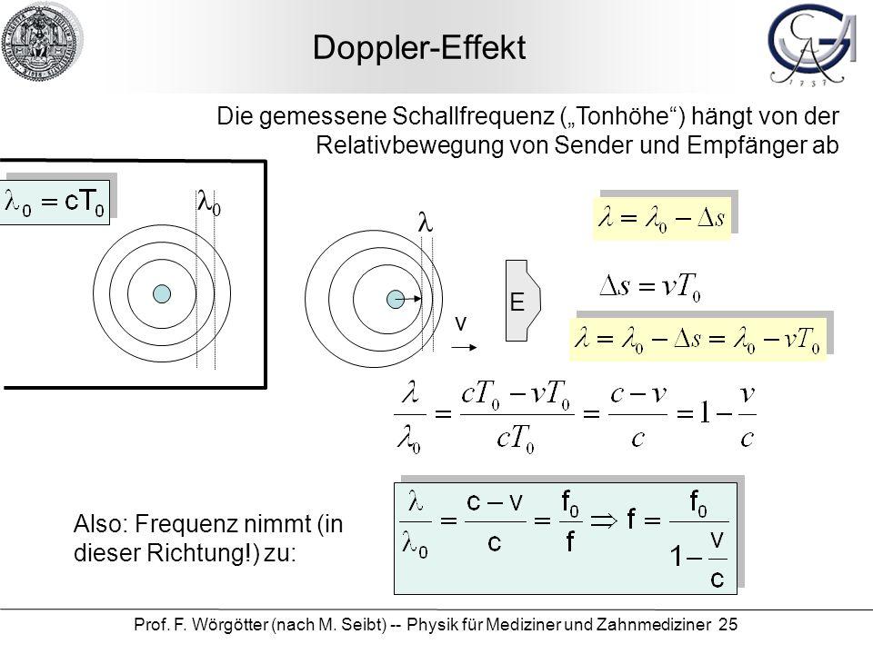 Prof. F. Wörgötter (nach M. Seibt) -- Physik für Mediziner und Zahnmediziner 25 Doppler-Effekt Die gemessene Schallfrequenz (Tonhöhe) hängt von der Re