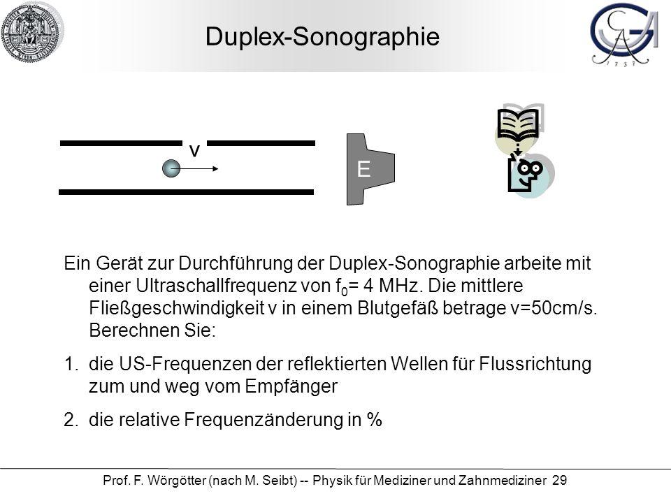 Prof. F. Wörgötter (nach M. Seibt) -- Physik für Mediziner und Zahnmediziner 29 Duplex-Sonographie v E Ein Gerät zur Durchführung der Duplex-Sonograph
