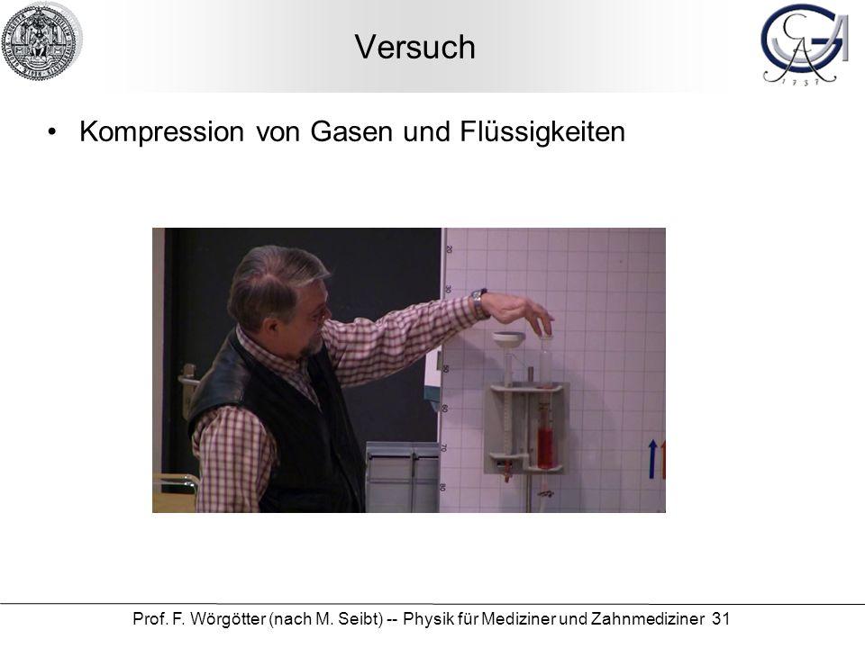 Prof. F. Wörgötter (nach M. Seibt) -- Physik für Mediziner und Zahnmediziner 31 Versuch Kompression von Gasen und Flüssigkeiten