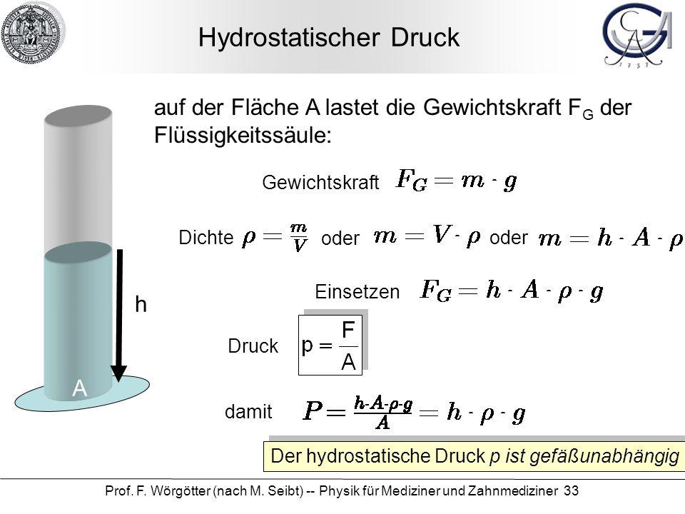 Prof. F. Wörgötter (nach M. Seibt) -- Physik für Mediziner und Zahnmediziner 33 Hydrostatischer Druck A h Druck auf der Fläche A lastet die Gewichtskr