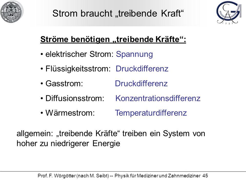 Prof. F. Wörgötter (nach M. Seibt) -- Physik für Mediziner und Zahnmediziner 45 Strom braucht treibende Kraft Ströme benötigen treibende Kräfte: elekt