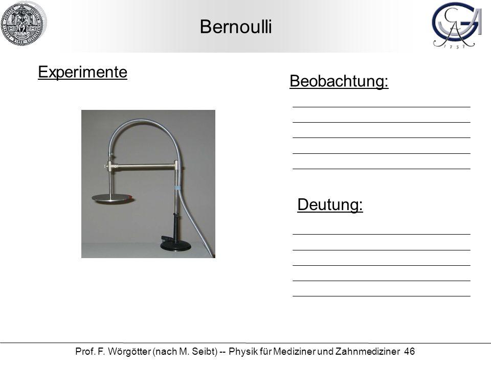 Prof. F. Wörgötter (nach M. Seibt) -- Physik für Mediziner und Zahnmediziner 46 Bernoulli Beobachtung: Deutung: Experimente