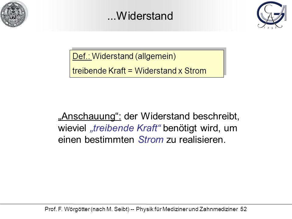Prof. F. Wörgötter (nach M. Seibt) -- Physik für Mediziner und Zahnmediziner 52...Widerstand Def.: Widerstand (allgemein) treibende Kraft = Widerstand