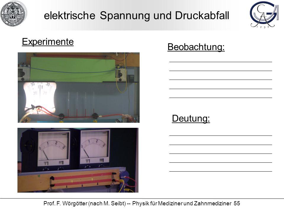 Prof. F. Wörgötter (nach M. Seibt) -- Physik für Mediziner und Zahnmediziner 55 elektrische Spannung und Druckabfall Beobachtung: Deutung: Experimente