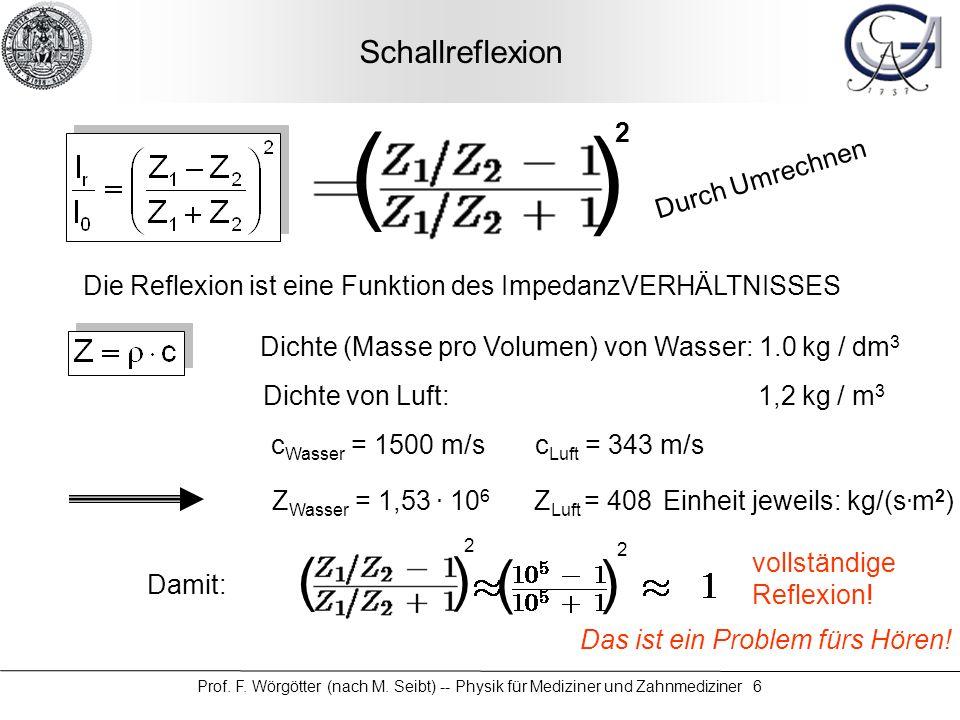 Prof. F. Wörgötter (nach M. Seibt) -- Physik für Mediziner und Zahnmediziner 6 Schallreflexion Die Reflexion ist eine Funktion des ImpedanzVERHÄLTNISS