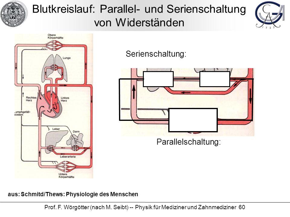 Prof. F. Wörgötter (nach M. Seibt) -- Physik für Mediziner und Zahnmediziner 60 Blutkreislauf: Parallel- und Serienschaltung von Widerständen aus: Sch