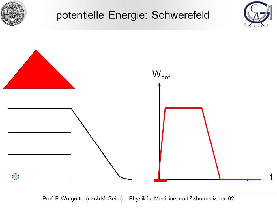 Prof. F. Wörgötter (nach M. Seibt) -- Physik für Mediziner und Zahnmediziner 62 potentielle Energie: Schwerefeld W pot t