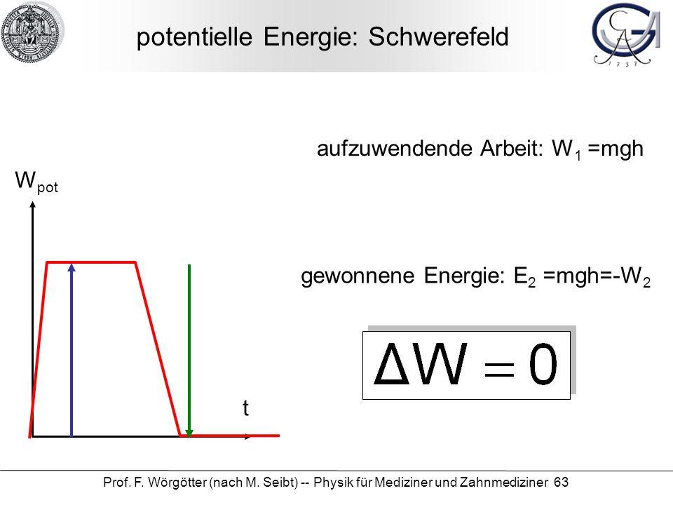 Prof. F. Wörgötter (nach M. Seibt) -- Physik für Mediziner und Zahnmediziner 63 potentielle Energie: Schwerefeld W pot t aufzuwendende Arbeit: W 1 =mg