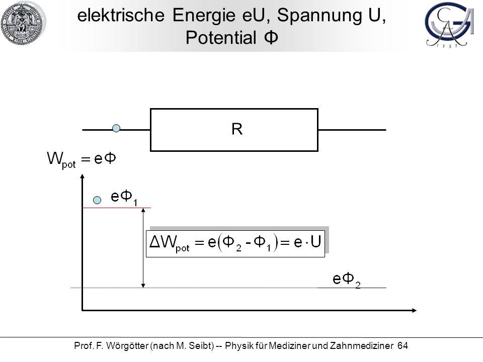 Prof. F. Wörgötter (nach M. Seibt) -- Physik für Mediziner und Zahnmediziner 64 elektrische Energie eU, Spannung U, Potential Φ R