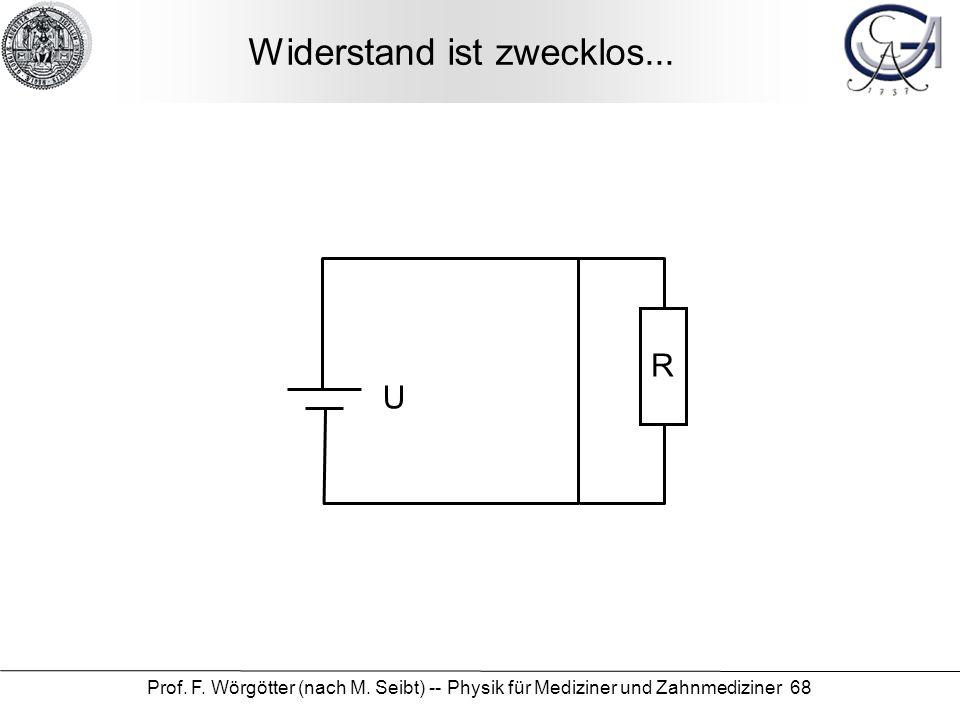 Prof. F. Wörgötter (nach M. Seibt) -- Physik für Mediziner und Zahnmediziner 68 Widerstand ist zwecklos... R U