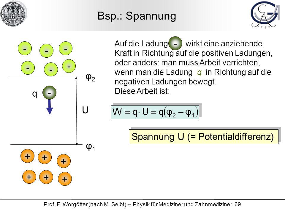 Prof. F. Wörgötter (nach M. Seibt) -- Physik für Mediziner und Zahnmediziner 69 Bsp.: Spannung Auf die Ladung wirkt eine anziehende Kraft in Richtung