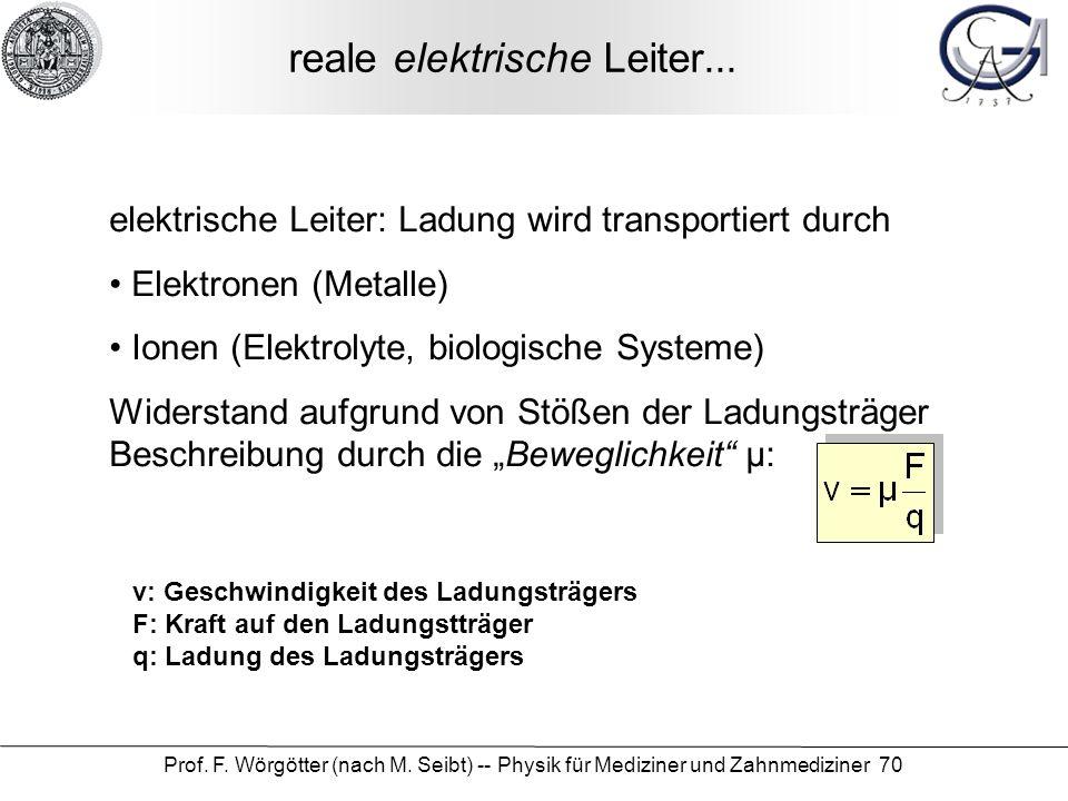 Prof. F. Wörgötter (nach M. Seibt) -- Physik für Mediziner und Zahnmediziner 70 reale elektrische Leiter... elektrische Leiter: Ladung wird transporti
