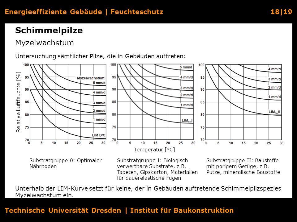 Energieeffiziente Gebäude   Feuchteschutz18 19 Technische Universität Dresden   Institut für Baukonstruktion Schimmelpilze Myzelwachstum Relative Luft