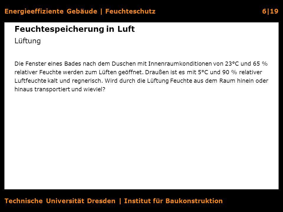Energieeffiziente Gebäude   Feuchteschutz6 19 Technische Universität Dresden   Institut für Baukonstruktion Feuchtespeicherung in Luft Lüftung Die Fen