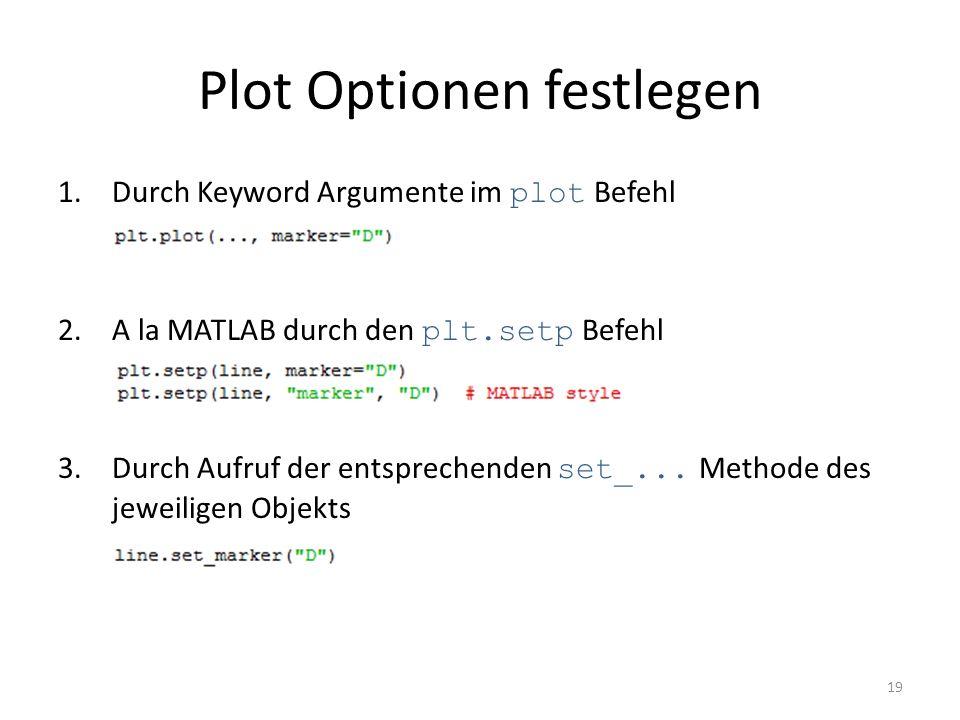 Plot Optionen festlegen 1.Durch Keyword Argumente im plot Befehl 2.A la MATLAB durch den plt.setp Befehl 3.Durch Aufruf der entsprechenden set_... Met
