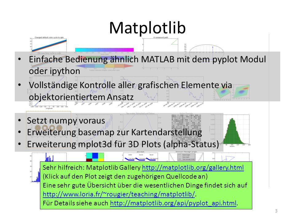 Matplotlib Konzept 4 FigureCanvas Renderer Event based on article http://www.aosabook.org/en/matplotlib.htmlhttp://www.aosabook.org/en/matplotlib.html backend layer Figure Axes Line2D artist layer XAxisYAxisText … x-labelx-ticks … draw Pyplot scripting layer