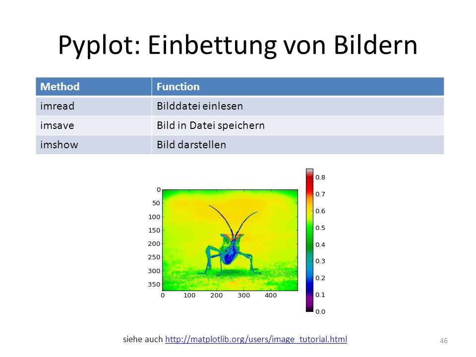 Pyplot: Einbettung von Bildern 46 MethodFunction imreadBilddatei einlesen imsaveBild in Datei speichern imshowBild darstellen siehe auch http://matplo