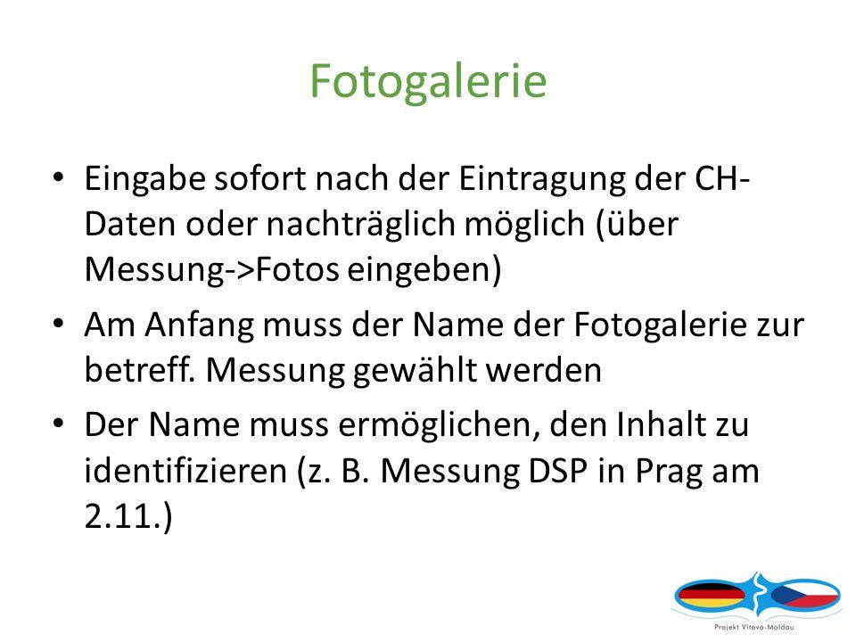 Fotogalerie Eingabe sofort nach der Eintragung der CH- Daten oder nachträglich möglich (über Messung->Fotos eingeben) Am Anfang muss der Name der Fotogalerie zur betreff.