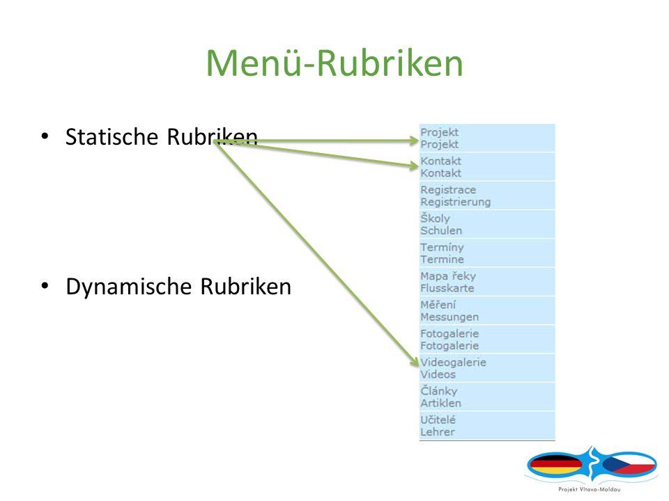 Menü-Rubriken Statische Rubriken Dynamische Rubriken