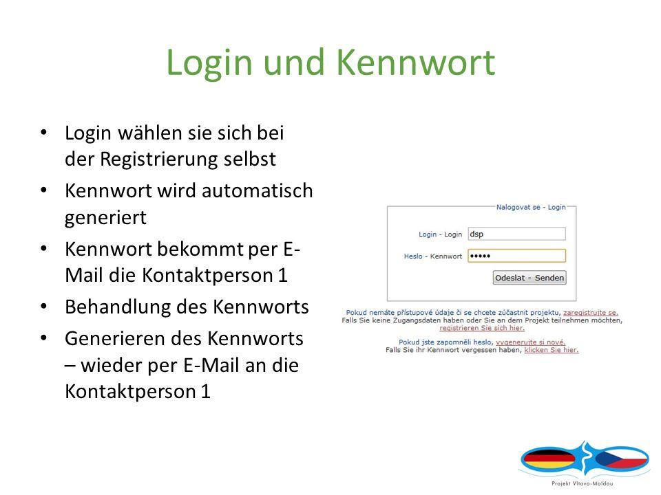 Login und Kennwort Login wählen sie sich bei der Registrierung selbst Kennwort wird automatisch generiert Kennwort bekommt per E- Mail die Kontaktperson 1 Behandlung des Kennworts Generieren des Kennworts – wieder per E-Mail an die Kontaktperson 1