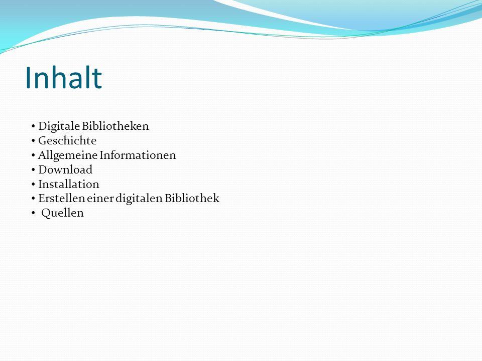 Quellen http://fab.schalljugend.net/2008/04/greenstone-eine-software-zur-erstellung- digitaler-bibliotheken/#more-3http://fab.schalljugend.net/2008/04/greenstone-eine-software-zur-erstellung- digitaler-bibliotheken/#more-3 www.greenstone.org GSDL_Begineers_Guide.pdf