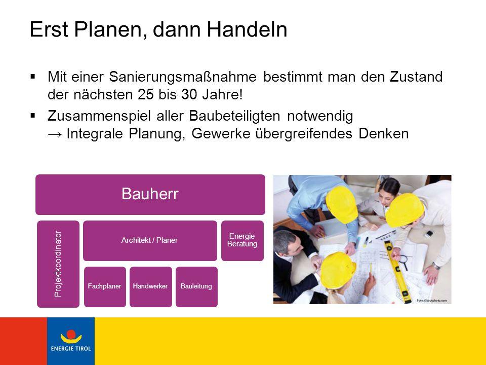 Erst Planen, dann Handeln Mit einer Sanierungsmaßnahme bestimmt man den Zustand der nächsten 25 bis 30 Jahre! Zusammenspiel aller Baubeteiligten notwe
